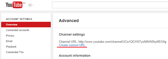 custom URL for YouTube