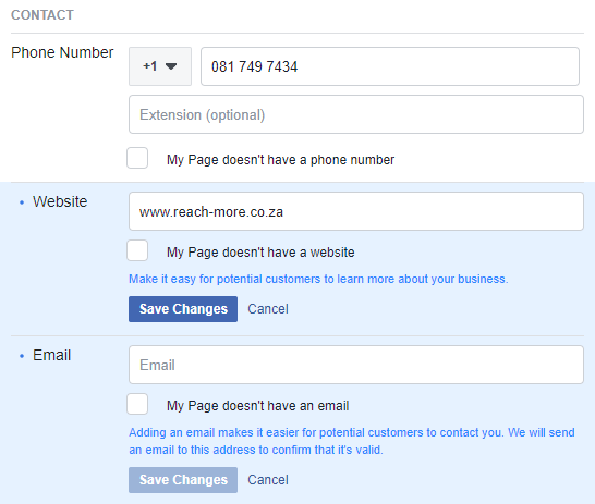 Add contact details to facebook