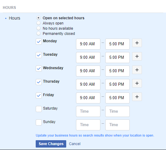 Set Facebook Business Hours