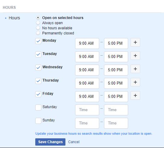 Set Facebook Business Hours